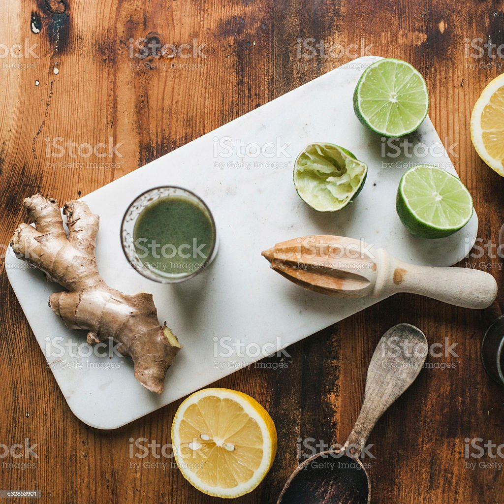 Ginger lime and fresh juice from above stock photo