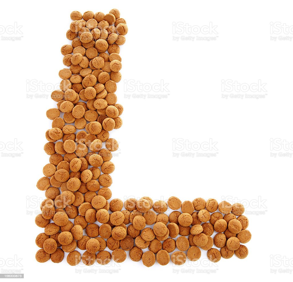 Ginger nuts, pepernoten, in the shape of letter L royalty-free stock photo