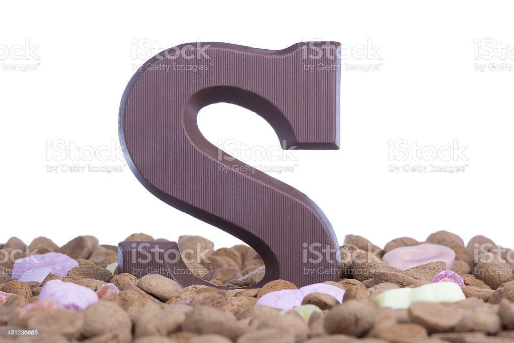 Ginger nuts with chocolate letter S at Dutch event Sinterklaas stock photo