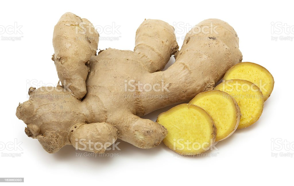 Ginger on white background stock photo