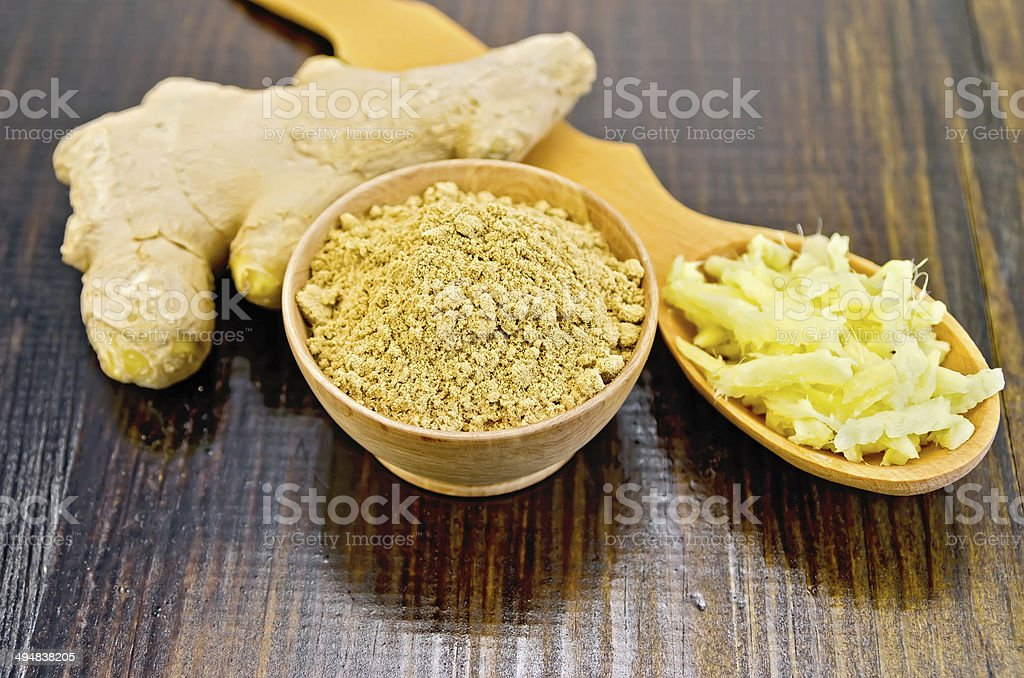 Ginger powder in a bowl with a spoon grated stock photo