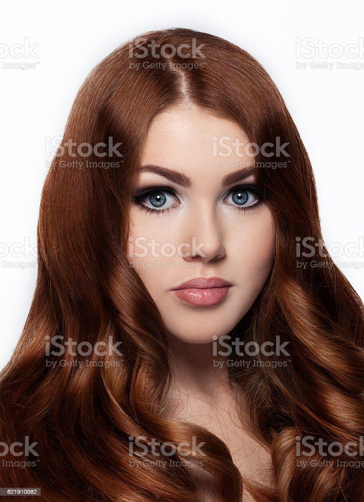 Ginger red long hair.Fashion girl portrait stock photo