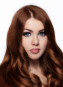 Ginger red long hair.Fashion girl portrait