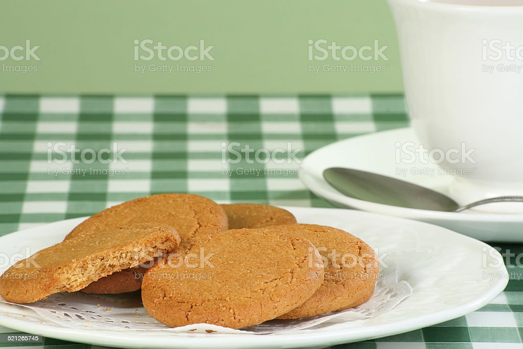 ginger snap biscuits stock photo