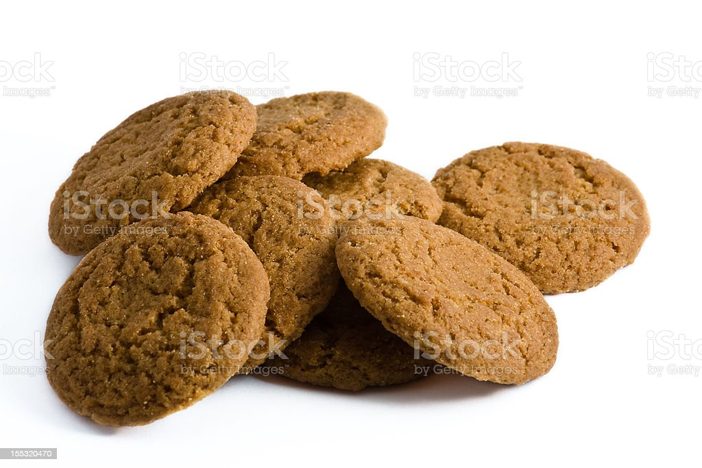 Ginger Snap Cookies on White Background stock photo