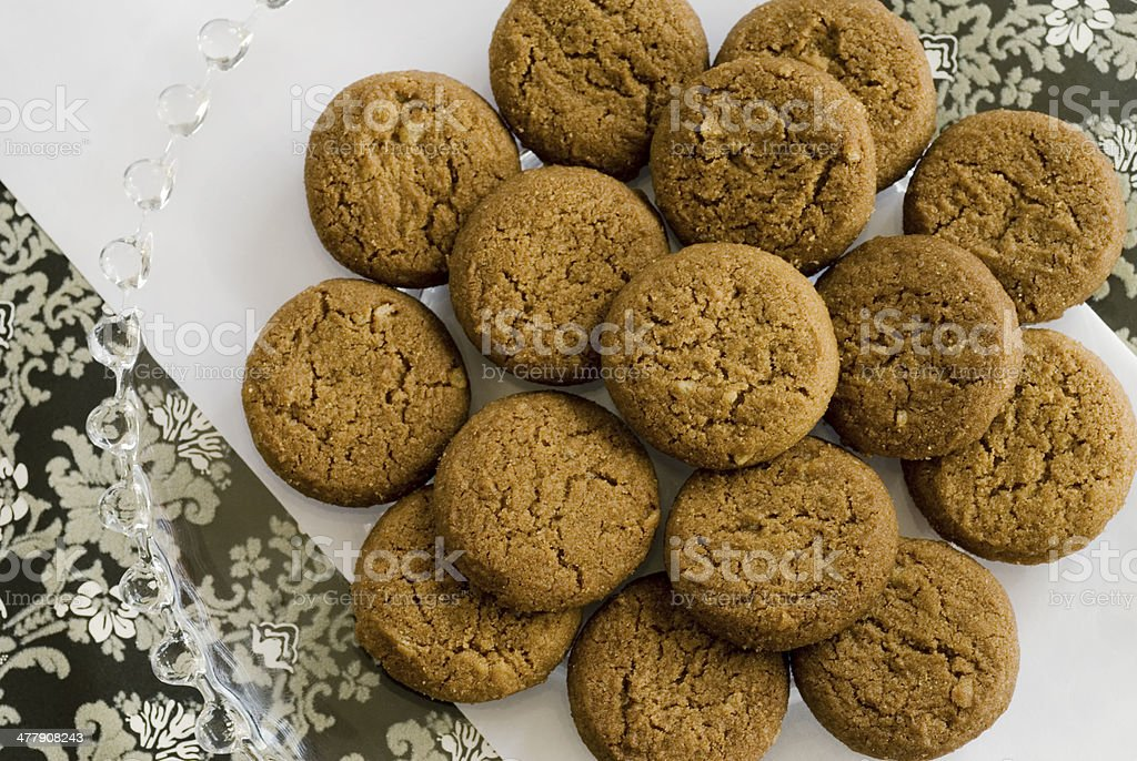ginger snaps on black and white stock photo