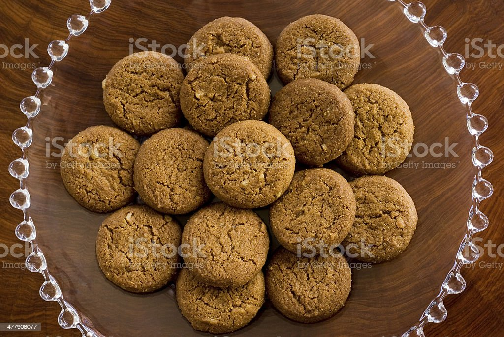 ginger snaps on brown stock photo