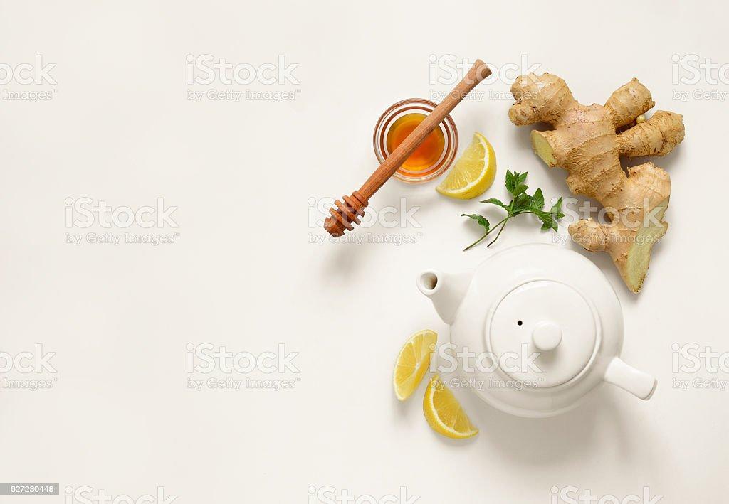 Ginger tea ingredients stock photo
