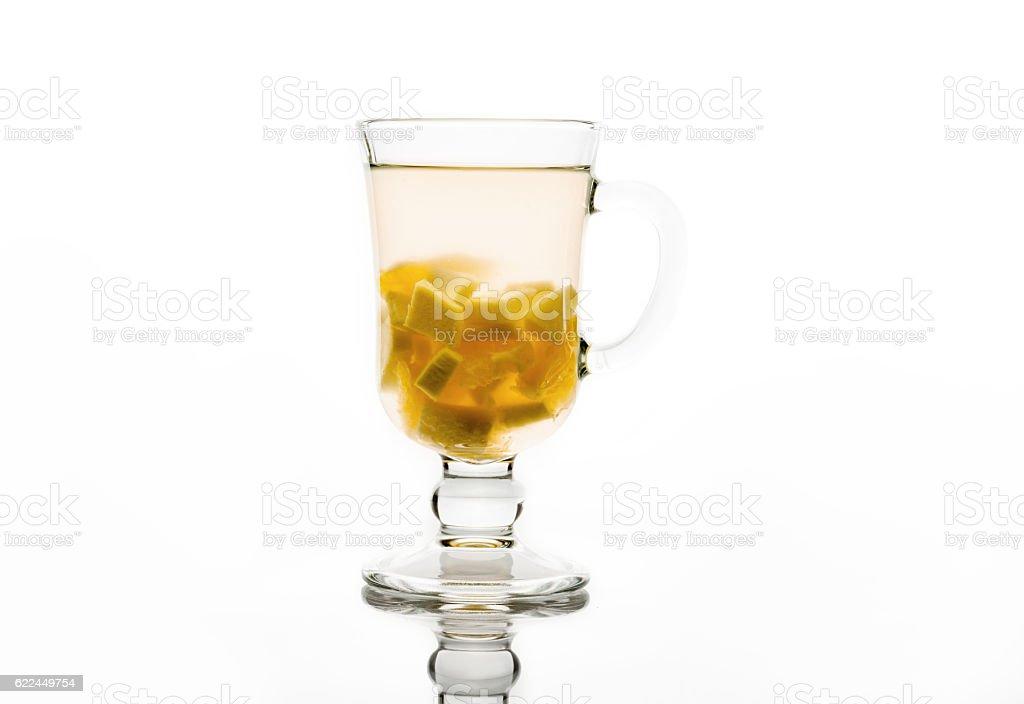 Ginger tea isolated on white background stock photo