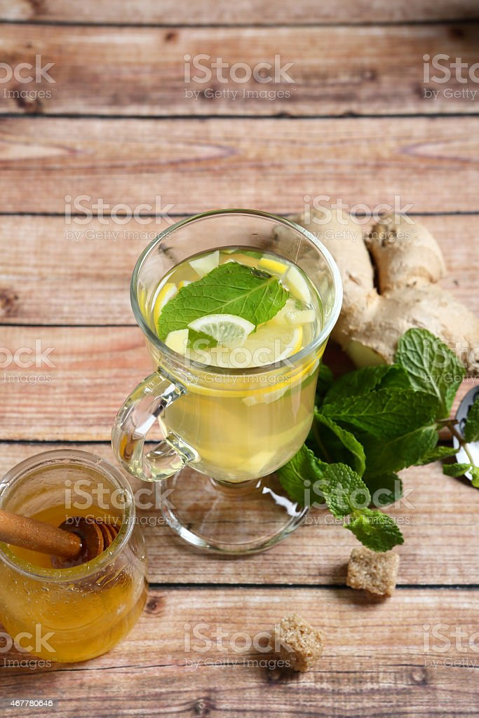 Ginger tea on the boards stock photo