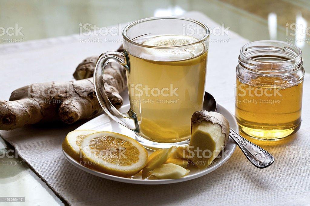 ginger tea with honey and lemon stock photo