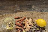 Ginger tea with lemon, herbs and cinnamon