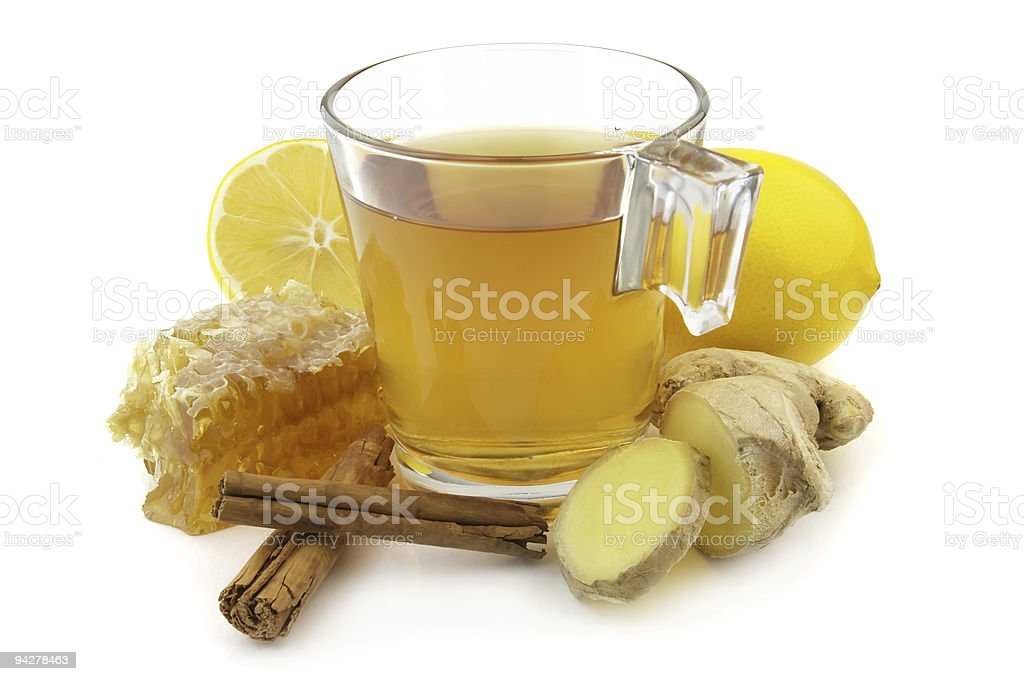 Ginger tea with lemons and ginger stock photo