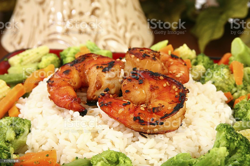 Ginger Teriyaki Shrimp with Rice and Veggies royalty-free stock photo