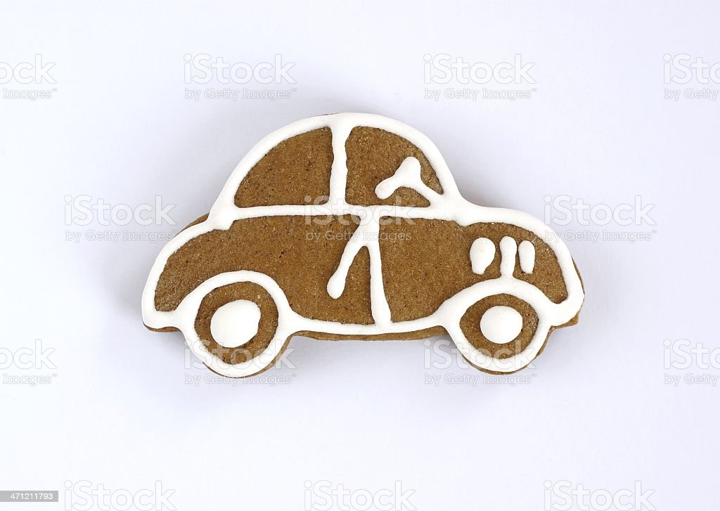 Gingerbread car shaped cookie with white icing for detail stock photo
