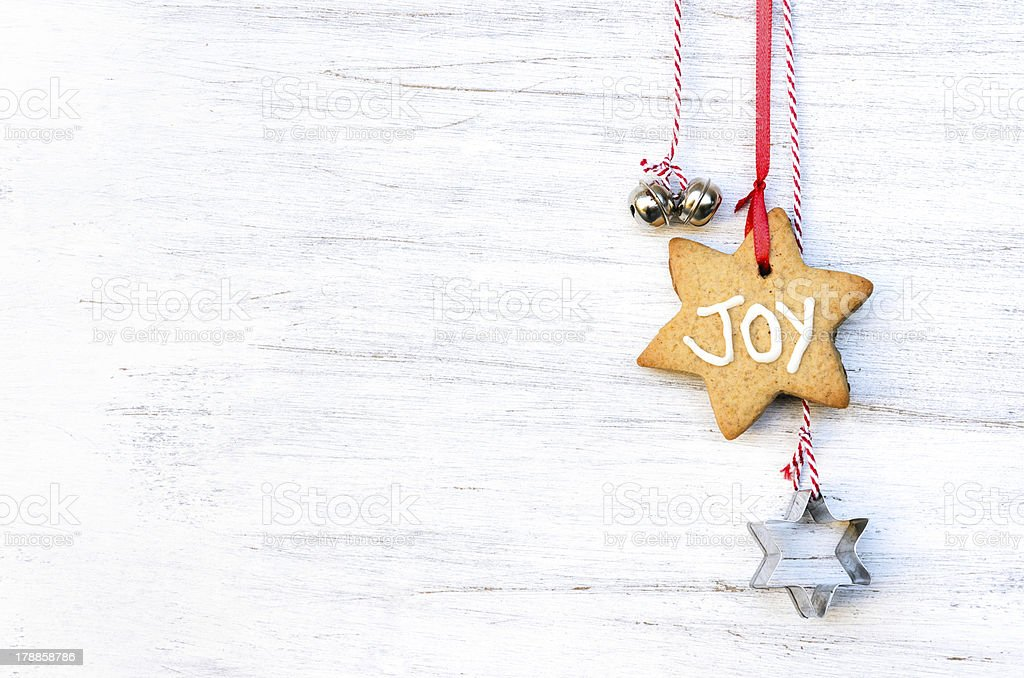 Gingerbread christmas decoration with copy space stock photo