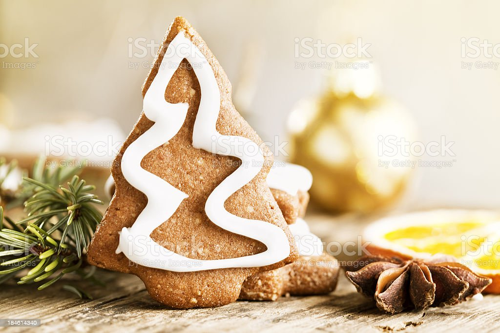 gingerbread christmas tree cookie royalty-free stock photo
