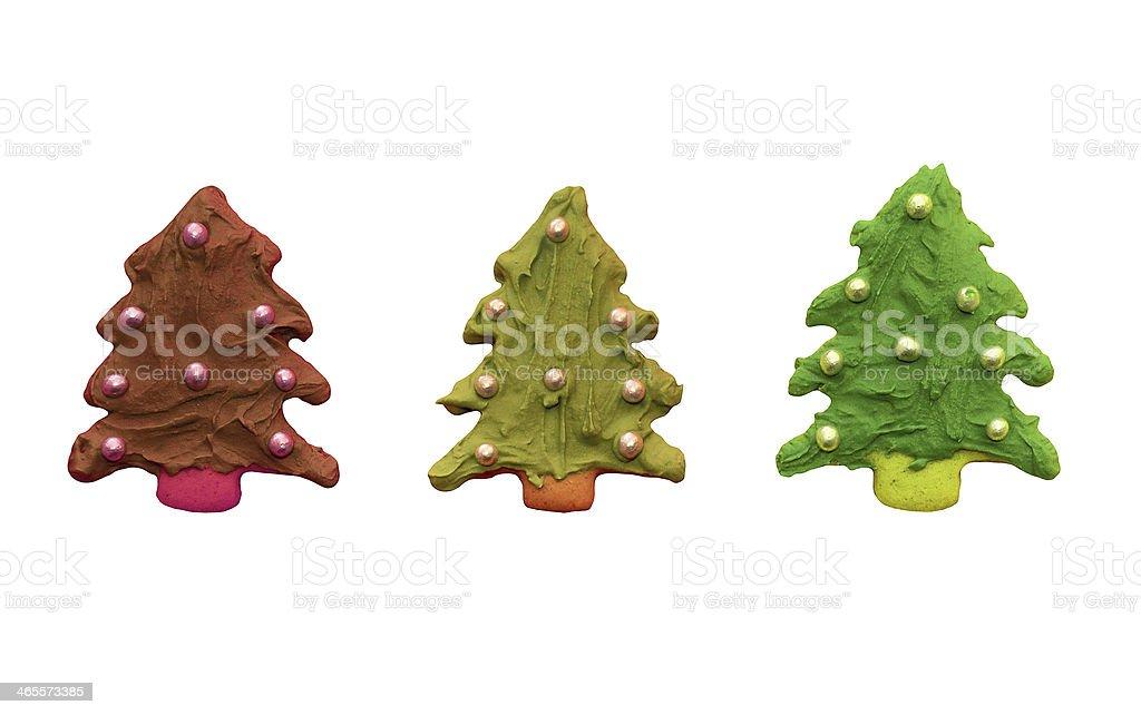 Gingerbread bunte Weihnachten Bäume-isoliert Lizenzfreies stock-foto
