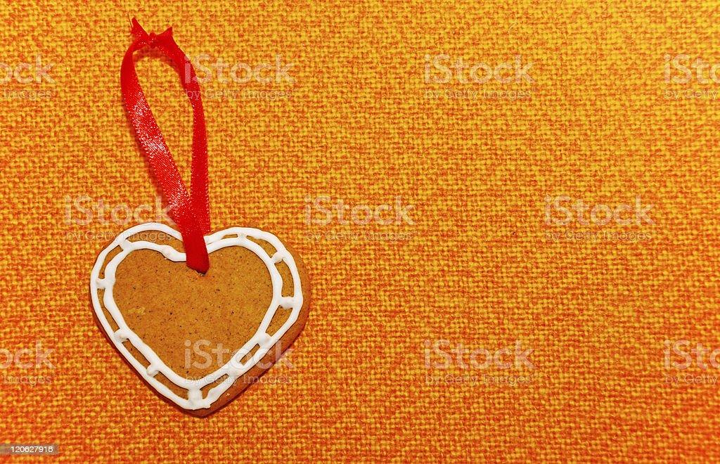 Lebkuchengebäck Herz mit dekorativer Schleife Lizenzfreies stock-foto