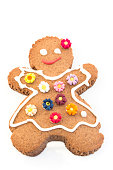 Gingerbread Cookie Woman Isolated on White