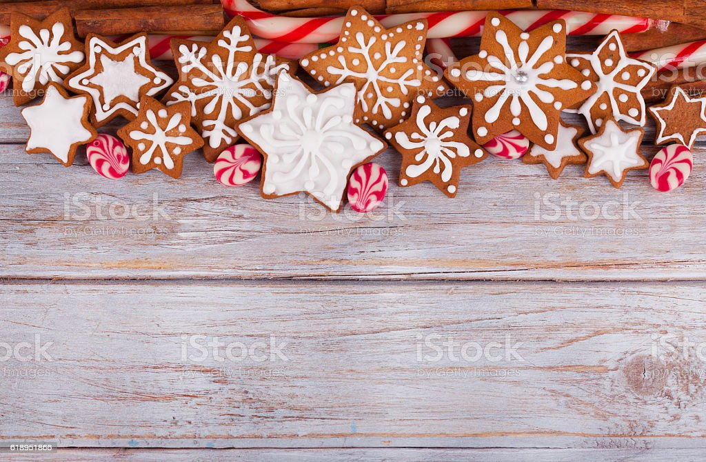 Gingerbread Cookies and Candy Christmas background stock photo