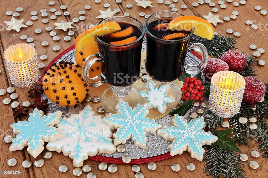 Gingerbread Cookies and Mulled Wine stock photo
