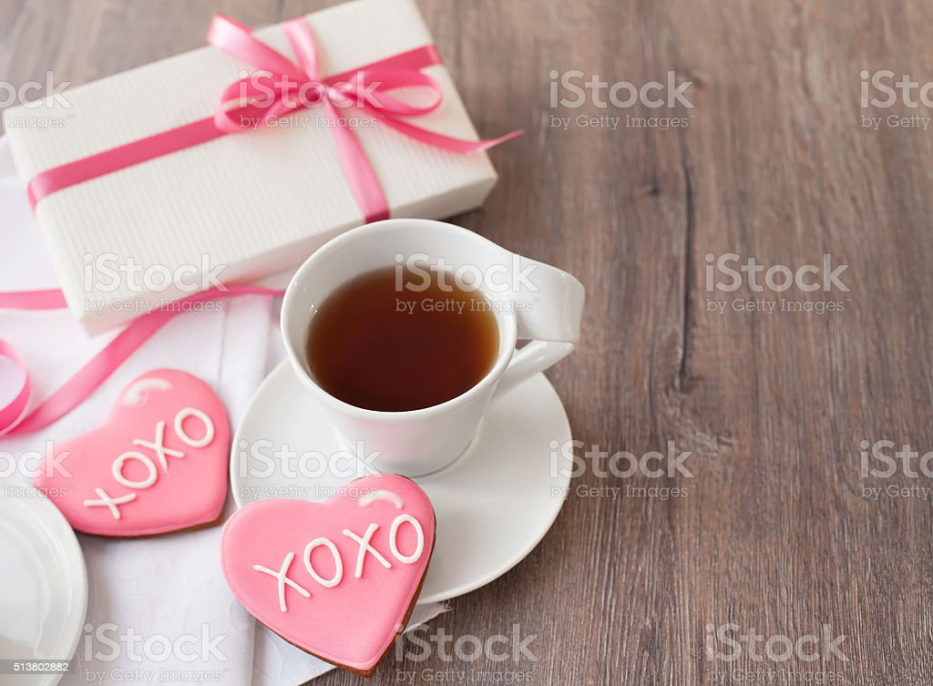 Gingerbread cookies decorated for valentine day stock photo