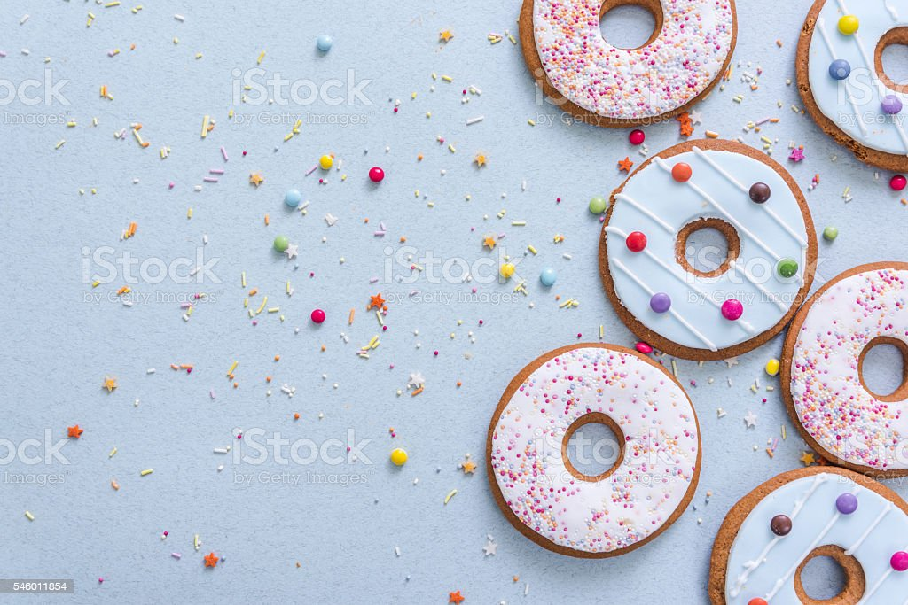 gingerbread cookies flat lay stock photo