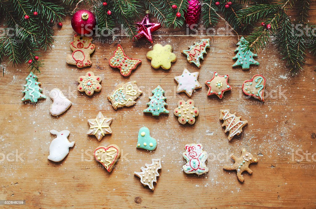 Gingerbread cookies for Christmas stock photo
