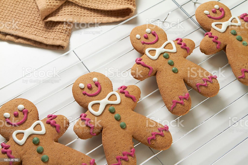 Gingerbread cookies on a cooling rack royalty-free stock photo