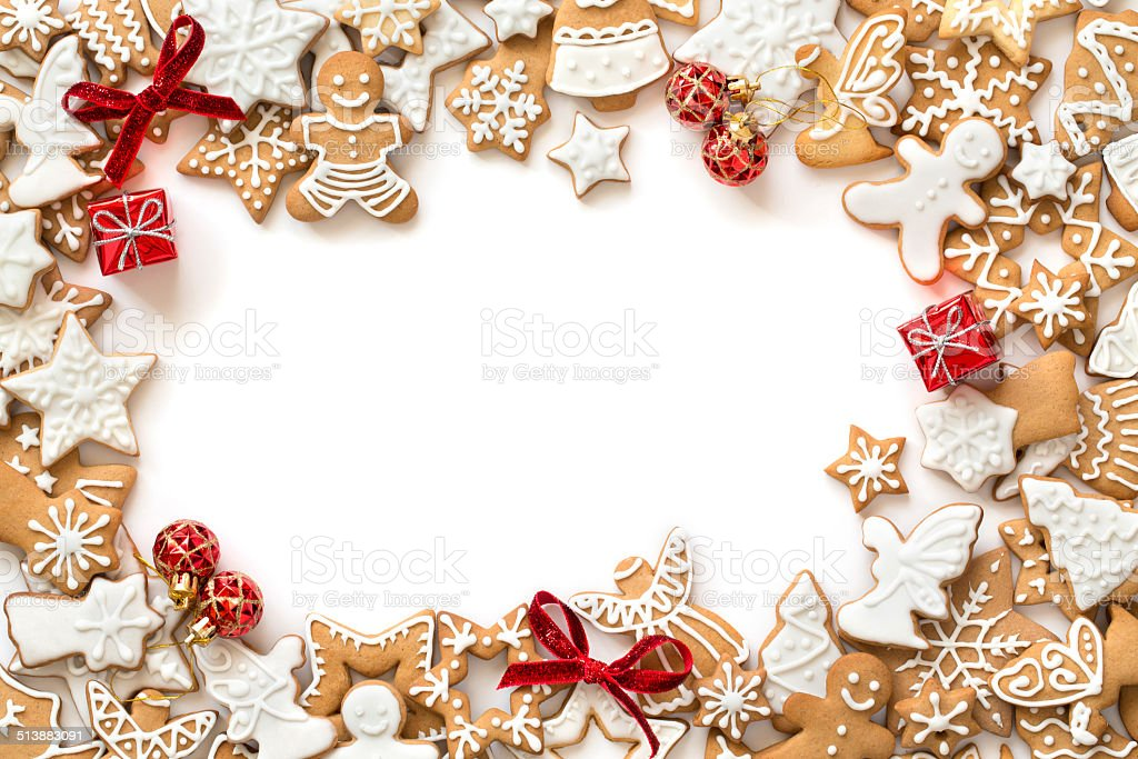 Gingerbread cookies on white background, horizontal border stock photo