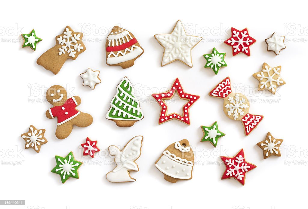 Gingerbread cookies on white background stock photo