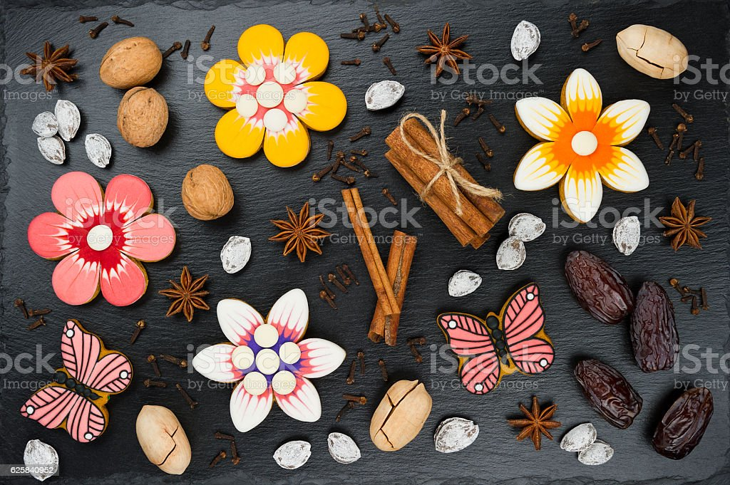 Gingerbread cookies set stock photo