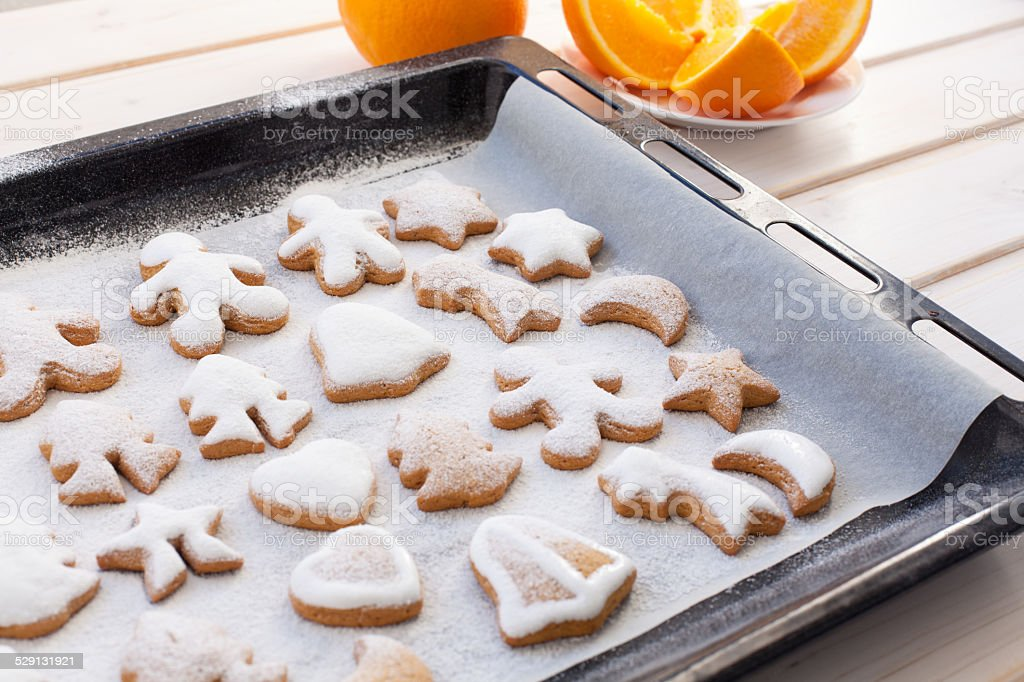 Gingerbread cookies with Christmas attributes stock photo