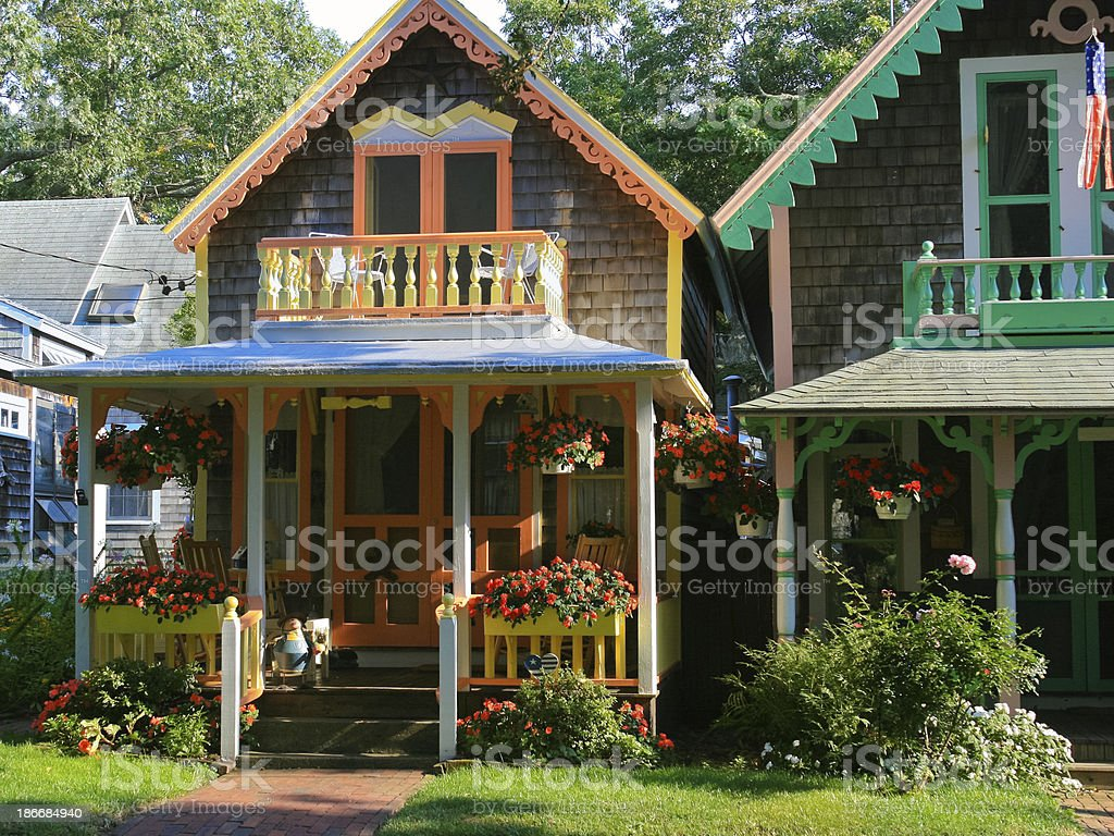 Gingerbread Cottages, Martha's Vineyard. stock photo