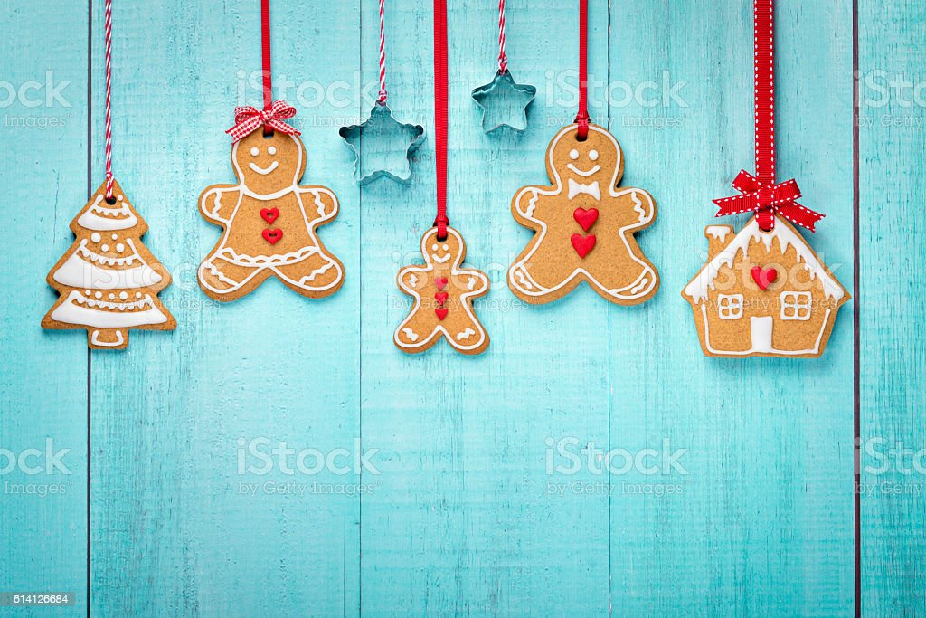 Gingerbread family border stock photo