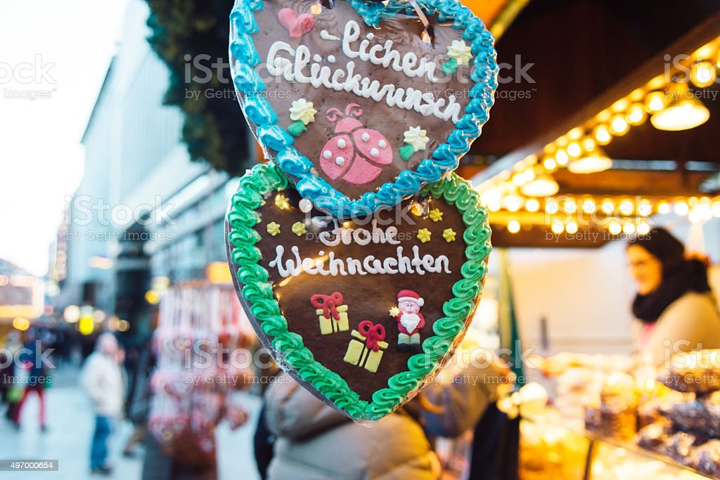 gingerbread heart at a Christmas Market stock photo