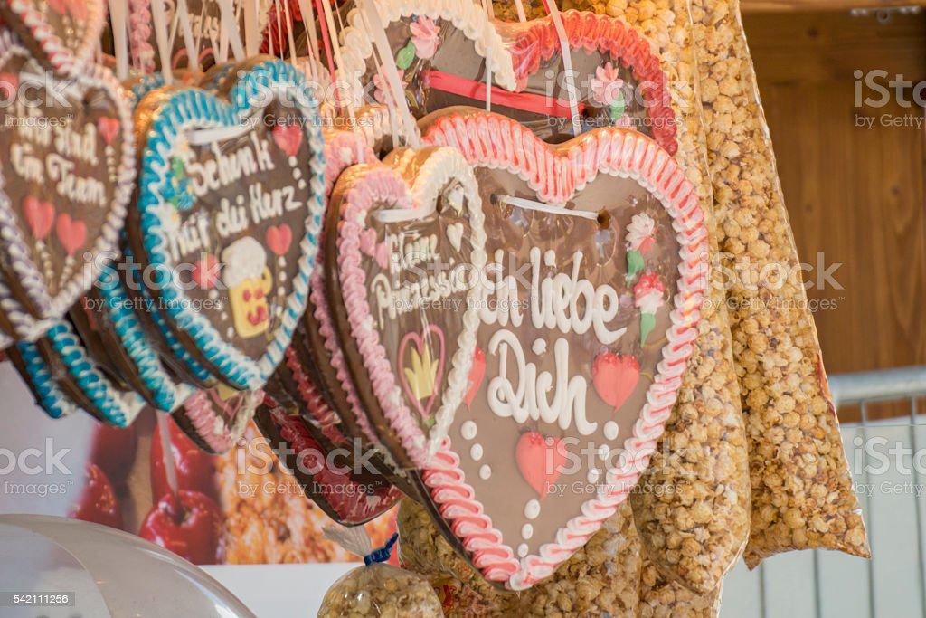 Gingerbread heart at a folk festival stock photo