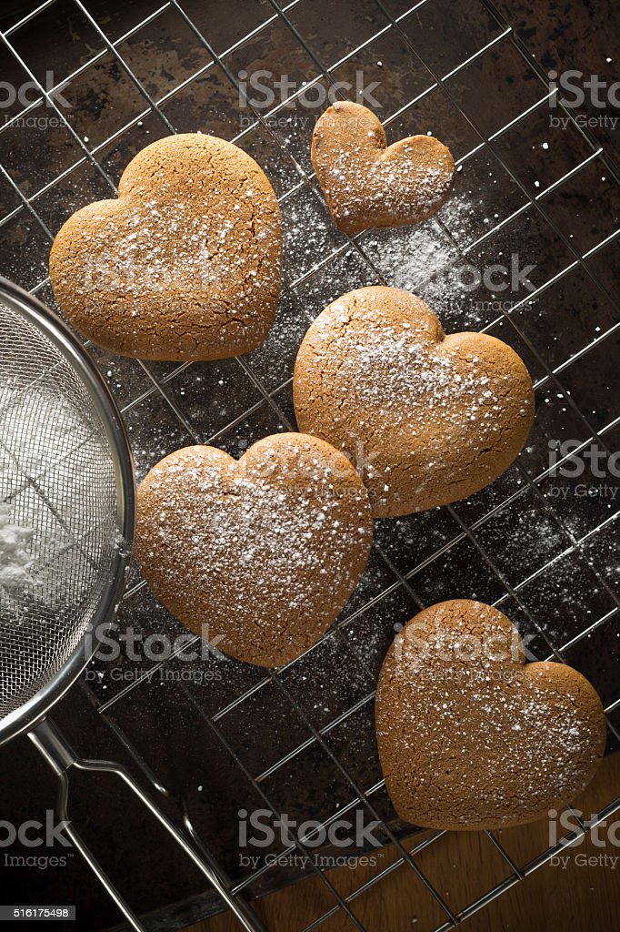 Gingerbread heart biscuits stock photo