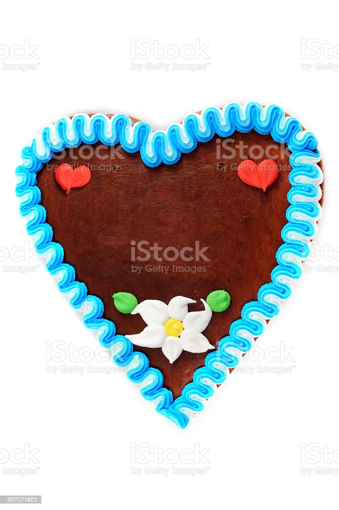 Gingerbread heart cake with copy space on white isolated background stock photo