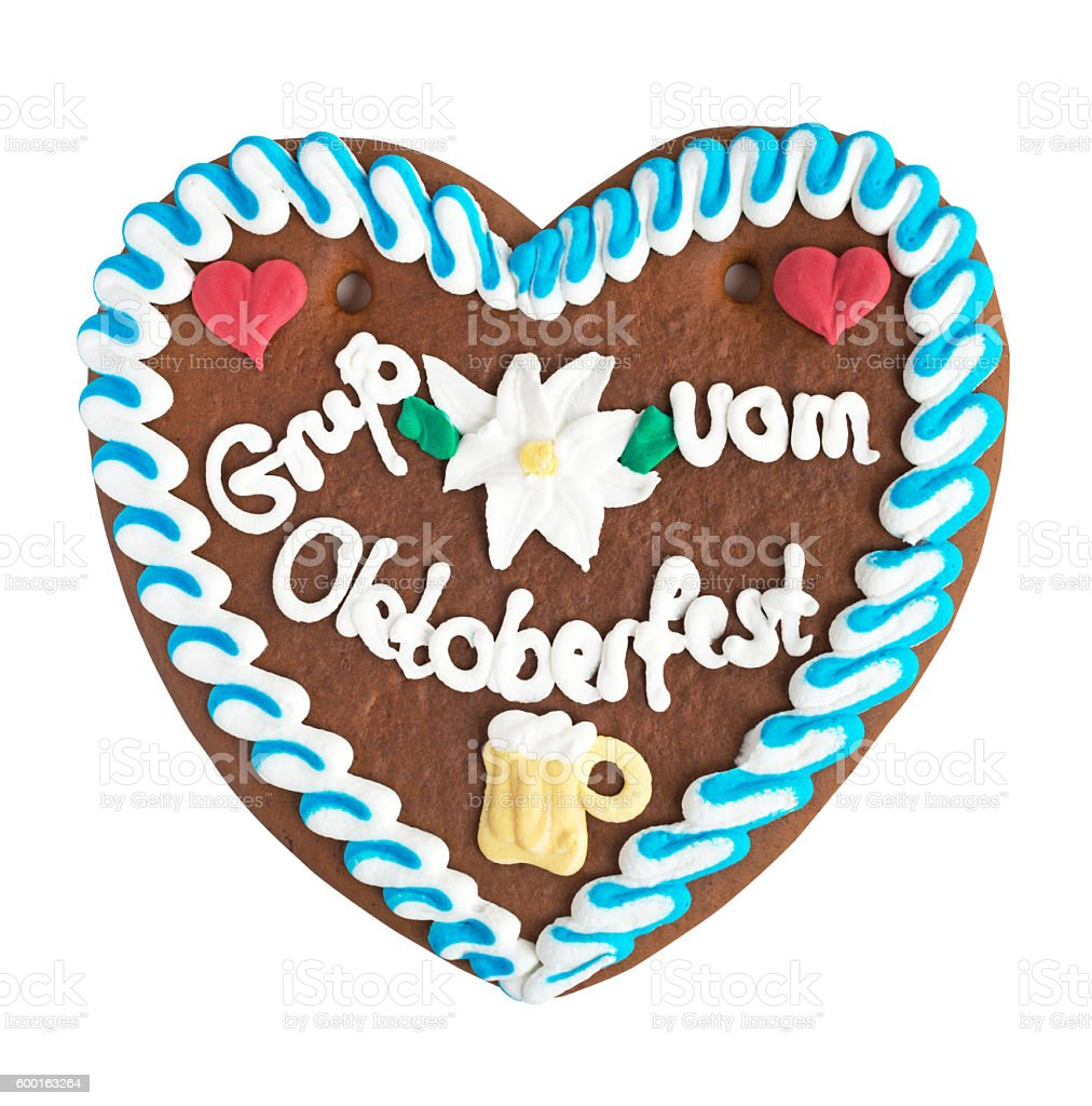 Gingerbread Heart from Oktoberfest isolated with clipping path stock photo