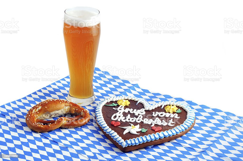 Gingerbread heart Oktoberfest on bavarian napkin wheat beer royalty-free stock photo