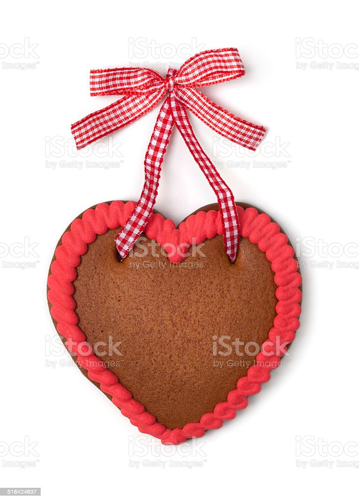 Gingerbread heart with copy space stock photo