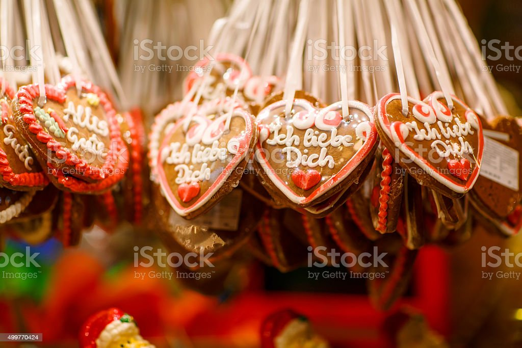 Gingerbread Hearts at Nuremberg Christmas Market stock photo