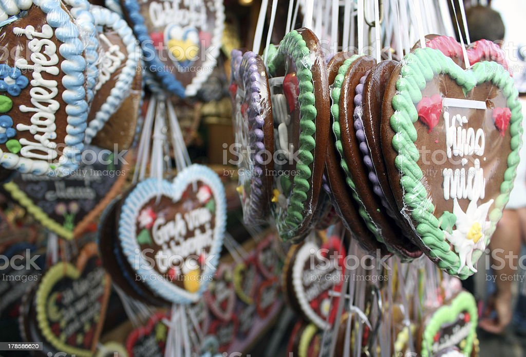 Gingerbread Hearts at Oktoberfest in Munich royalty-free stock photo