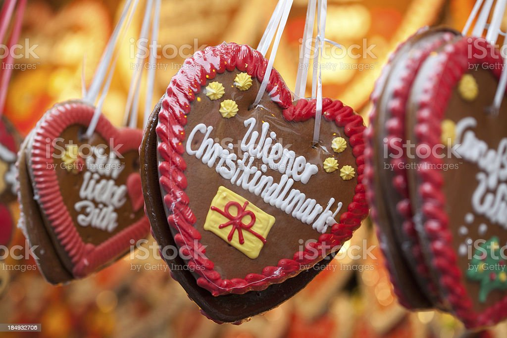 Gingerbread hearts at the Viennese Christmas Market stock photo