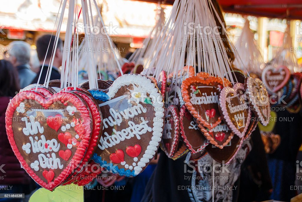 Gingerbread hearts at Theresienwiese in Munich, Germany, 2015 stock photo