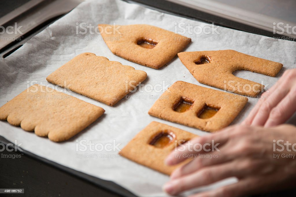 Gingerbread house parts, preparations for Christmas stock photo