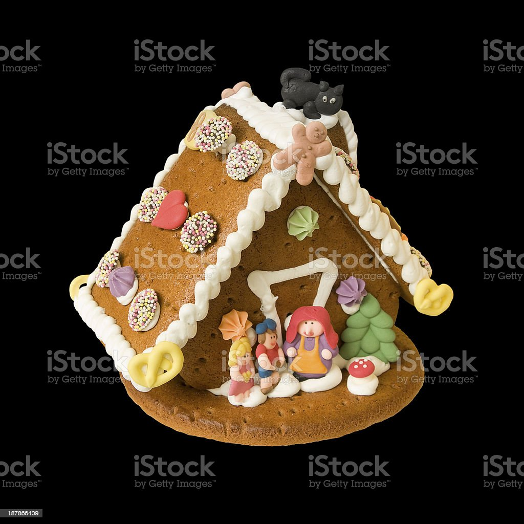 Gingerbread house with Hansel, Gretel and the Witch stock photo