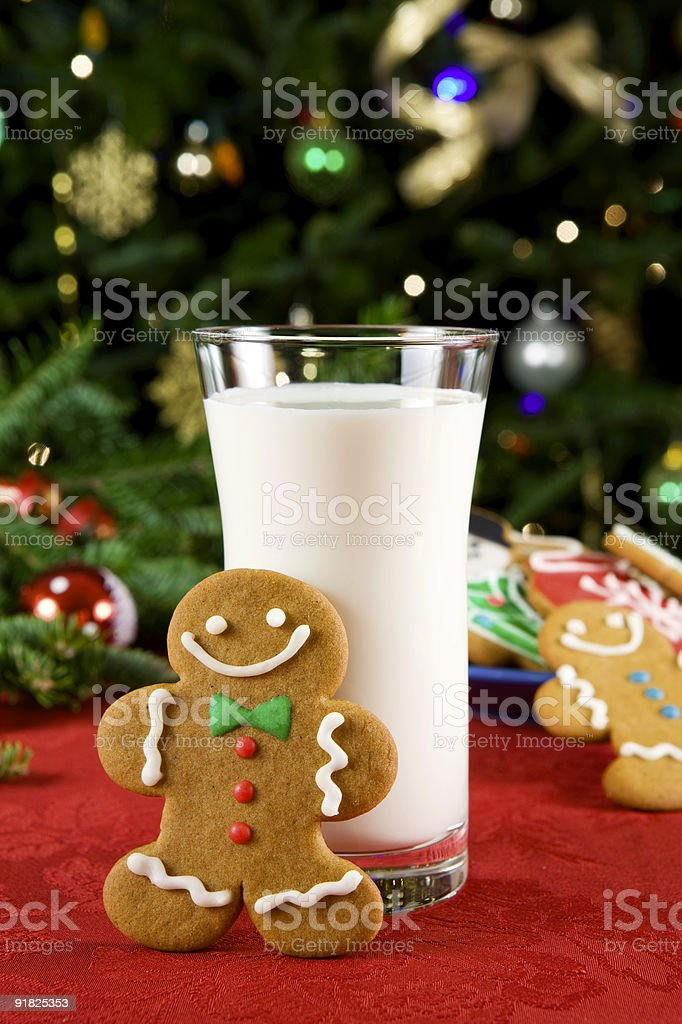 Gingerbread man and milk royalty-free stock photo